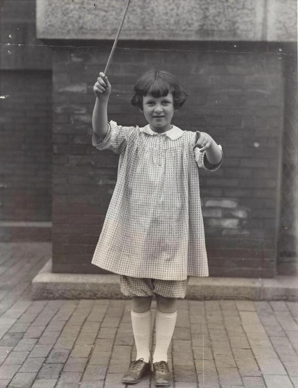 Charlotte Fellman at 8, when she conducted the rhythmic orchestra at Symphony Hall.