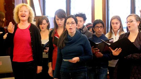 Boston, MA--11/16/2014--Anne Azéma (cq), left, artistic director of The Boston Camerata (cq), leads the rehearsal of