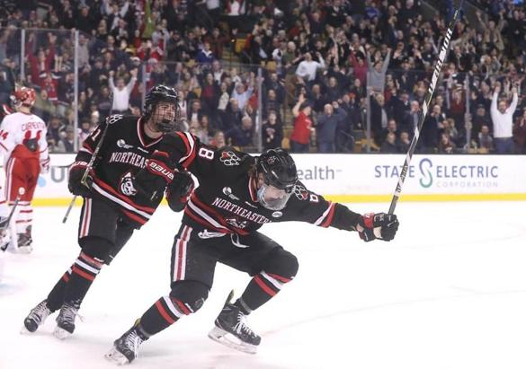Northeastern Adam Gaudette celebrated his goal with teammate Nolan Stevens.