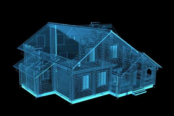 House 3D rendered xray blue transparent