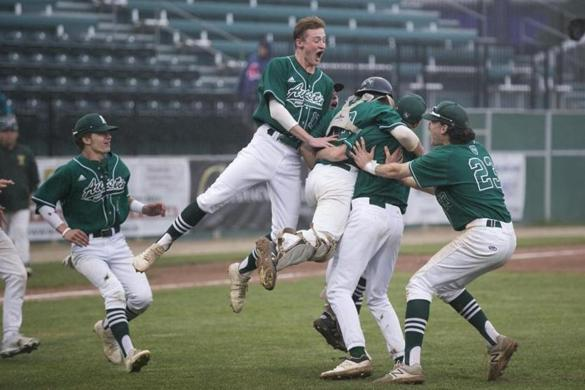 Austin Prep players celebrate their MIAA Division 3 baseball championship win over Taconic High at Hanover Insurance Park at Fitton Field at Holy Cross in Worcester, Massachusetts on June 23, 2018. Austin Prep defeated Taconic 9-1. Matthew Healey for The Boston Globe (SPORTS)