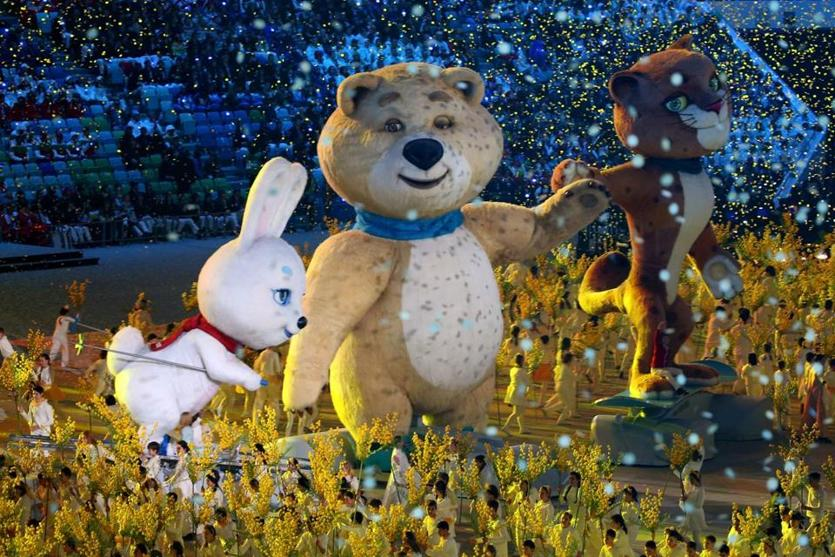 Olympic mascots the Hare, the Polar Bear, and the Leopard perform during the 2014 Sochi Winter Olympics Closing Ceremony.