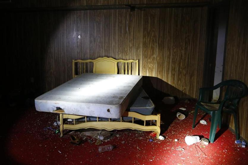 The interior of a building where migrants often stayed as they made their trek through Texas.