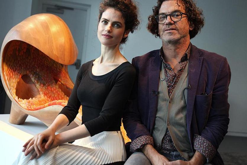 Cambridge, MA., 10/30/14, Designer/artist/archetict Neri Oxman, left, and David Edwards, founder of Le Laboratoire, in front of her piece. Cate McQuaid on Tod Machover's new doings at Le Laboratoire in Cambridge, launching with special projects that transcend technical concerns to touch on spiritual notions, Suzanne Kreiter/Globe staff (The Boston Globe.