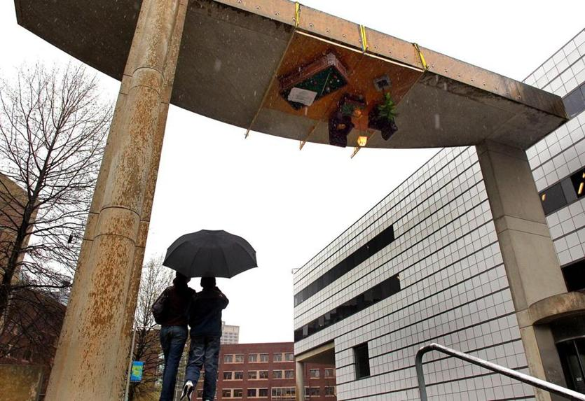 In 2010, hackers created an upside-down room on an archway on Ames Street in Cambridge.