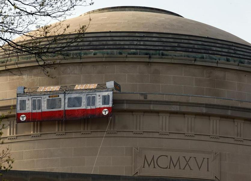 Hackers strapped a pretend Red Line car up to the side of the Great Dome in 2009.