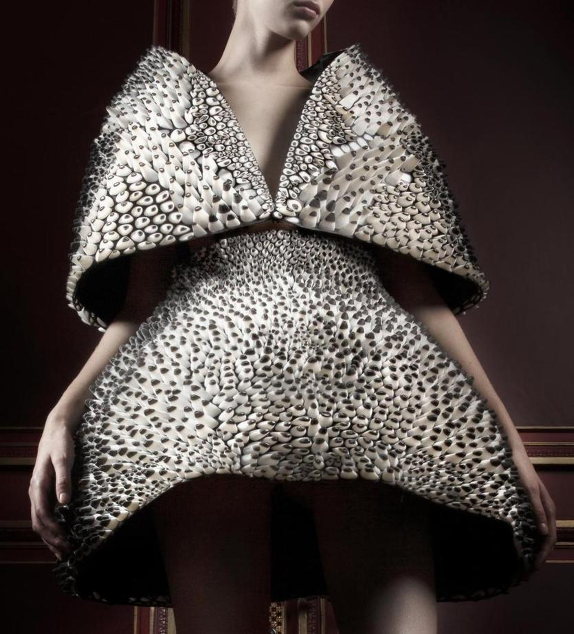 Museum of Fine Arts, Boston exhibition: #techstyle. Pictured: Anthazoa 3D Cape and Skirt, Voltage Collection (detail). Designed by: Iris van Herpen (Dutch, born in 1984). Designed by: Neri Oxman (Israeli, born 1976). Printed by: Stratasys. Group shot: 2013.1487.1-2. Dutch, 2013. 3D-printed polyeurethane rubber and acrylic, steel cage, and cotton twill inner lining and silk satin lining. *Museum purchase with funds donated by the Fashion Council, Museum of Fine Arts Boston. * M. Zoeter x Iris van Herpen (c) *Photography by Ronald Stoops. *Courtesy, Museum of Fine Arts, Boston