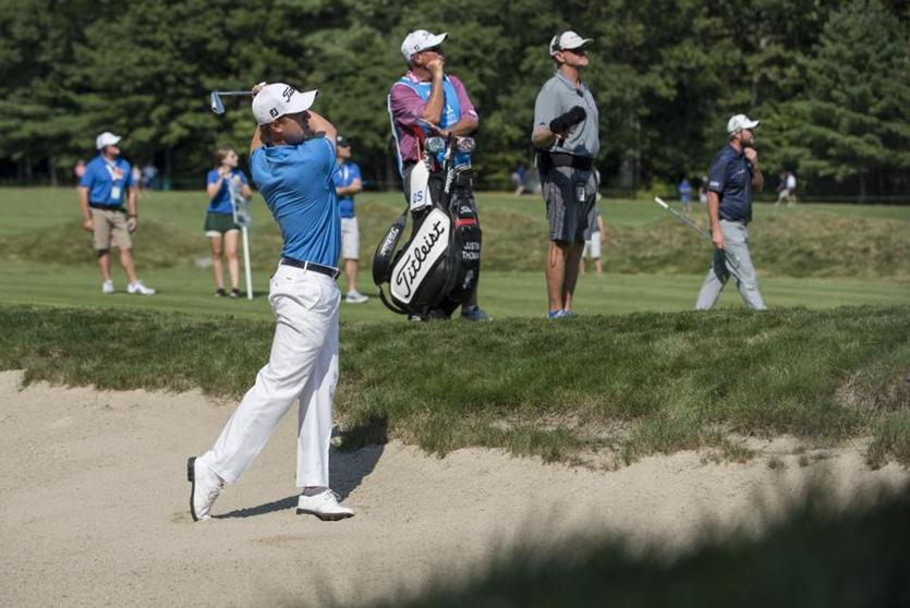 Justin Thomas found a bunker on the sixth hole