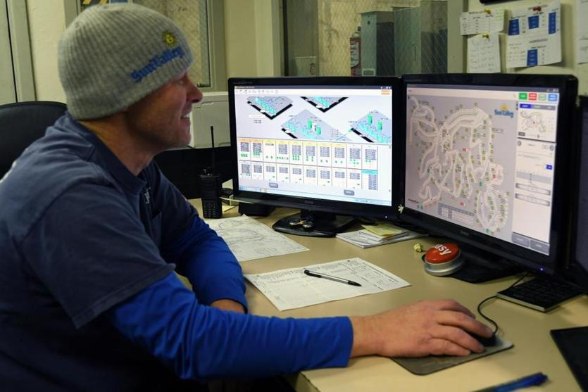 Shawn Aicher helps oversee the seasonal 24/7 snowmaking operation at Sun Valley Resort.