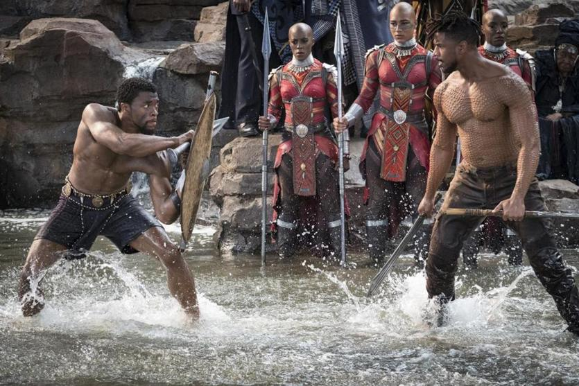 "Chadwick Boseman (left) and Michael B. Jordan in ""Black Panther."""
