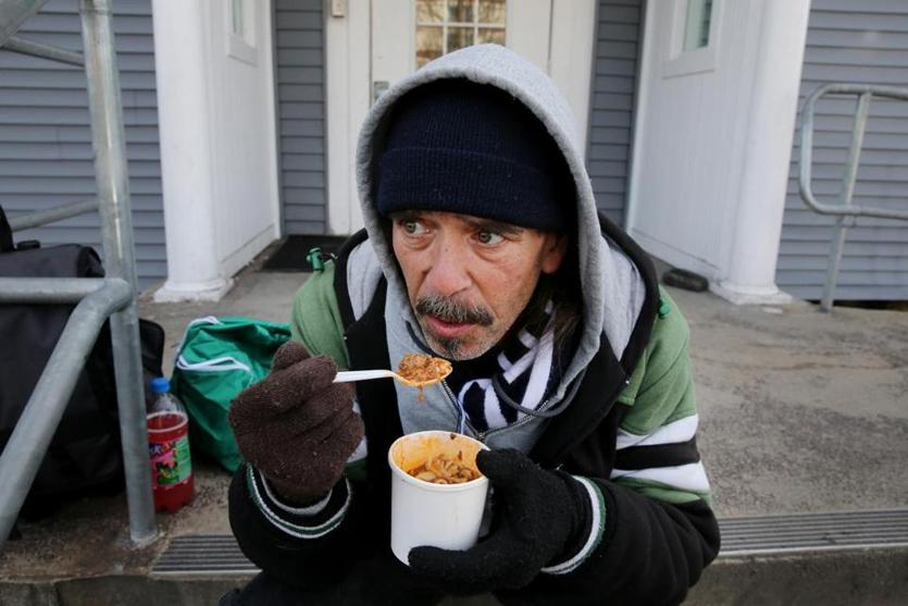 Joe Reardon enjoyed his soup outside Father Bill's & MainSpring, a shelter for the homeless in Brockton.