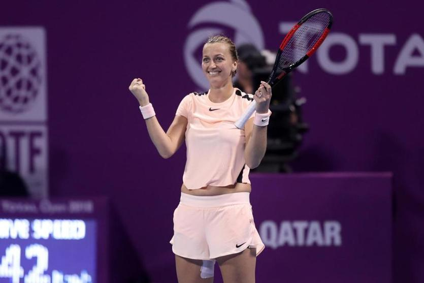 Petra Kvitova is pumped after beating top-ranked Caroline Wozniacki in the Qatar Open semifinals.