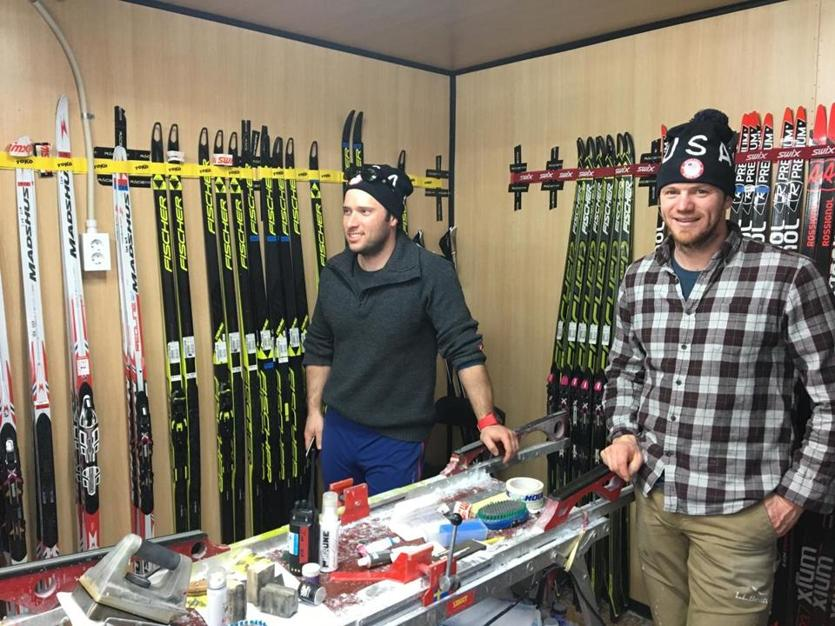Wax technicians Tim Baucom (left) and Andrew Morehouse (right), pictured inside a wax cabin at the PyeongChang Games, have been with Team USA for three seasons.
