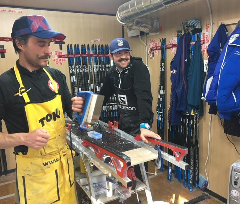 Wax technician Jean-Pascal Laurin (right) is in his his fourth season with Team USA, while technician and coach Jason Cork (left) is in his sixth.