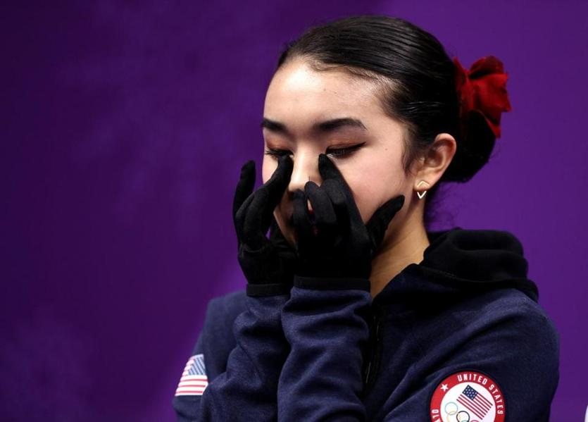 Karen Chen of the US could not hide her disappointment after her free skate. She finished in 11th place.