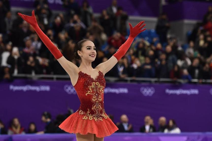 Russia's Alina Zagitova exults in her gold-medal winning performance.