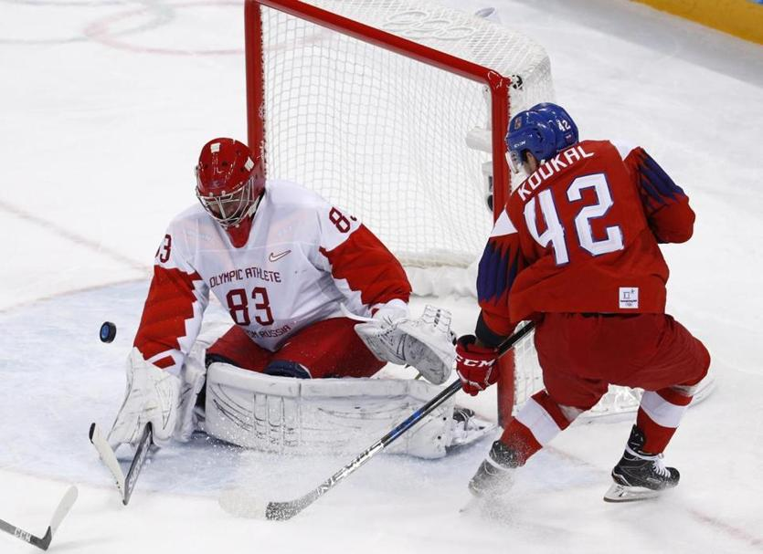 Russian goalie Vasily Koshechkin stopped all 31 shots he faced in a 3-0 semifinal win over the Czech Republic.
