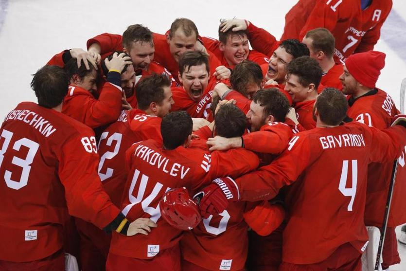 The Olympic Athletes from Russia celebrating their gold-medal victory over Germany Sunday.