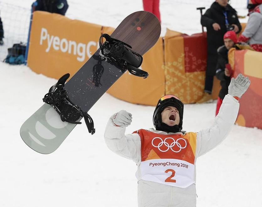 Shaun White reacts after winning gold on his final run in the halfpipe.