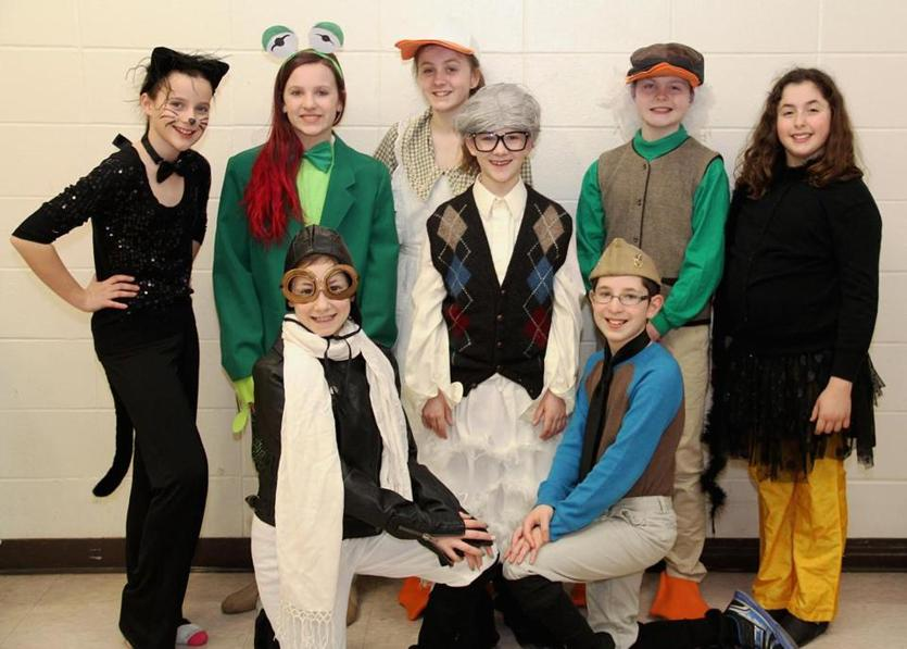 "The Un-Common Theatre Company's ""Honk! JR"" cast: Back, from left, Elena O'Keefe, Gianna Solbo, Abbi Lightbody, Anthony D'Amore, Dillon Lightbody, and Sammi Grosshandler; front, from left, Sadie Dussault and Jacob Zinno."