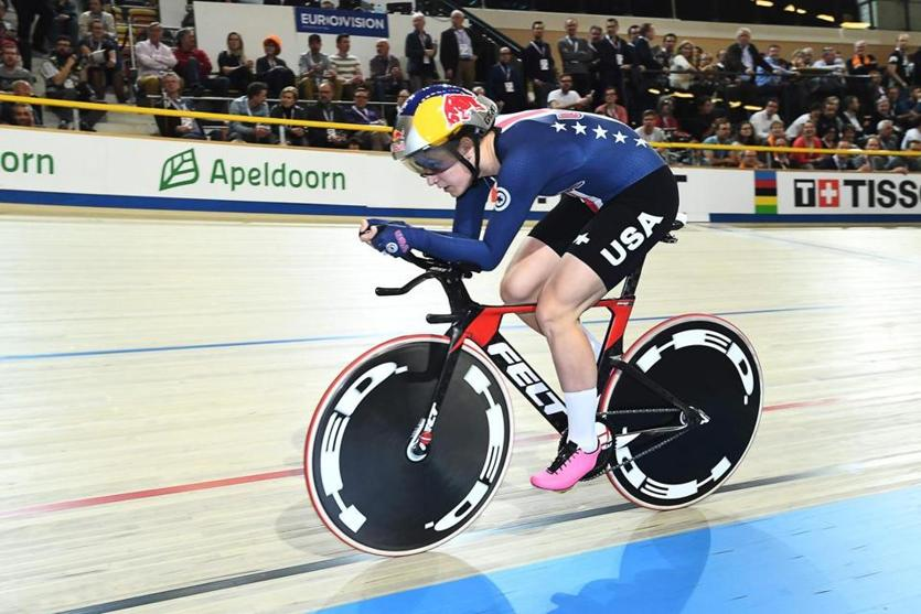 American Chloe Dygert rides to a record in the women's individual pursuit final during the World Track Cycling Championships in Apeldoorn, Netherlands.