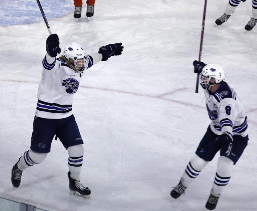 Lowell, MA - 3/11/18 - In first period action, Swampscott's Brett Benoit (cq) (11) celebrates his team's second goal, with Dom Codispoti (cq) (8). Swampscott defeats Wayland in the boys' Division 3 North 2018 MIAA Hockey Tournament (cq). Photo by Pat Greenhouse/Globe Staff Topic: 12schbhockey Reporter: Bob Holmes