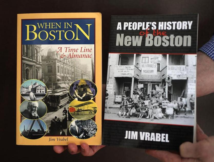 "Brookline, MA - 3/20/18 - Jim Vrabel's (cq) two books are ""When In Boston"" (published in 2004) and ""A People's History of the New Boston "" (2014). He has compiled a massive digital history of Boston and is looking for a location to store it. He works from his Brookline home. Photo by Pat Greenhouse/Globe Staff Topic: 22bostonhistory Reporter: Billy Baker"