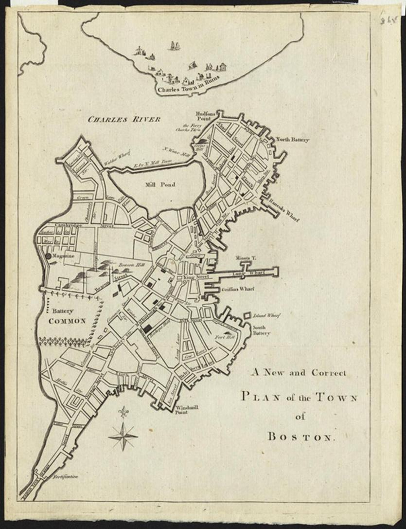 "Thomas Hyde Page's ""A New and Correct Plan of the Town of Boston,"" 1775."