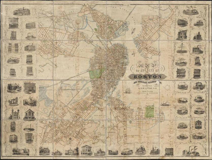 "Henry McIntyre's ""Map of the city of Boston and immediate neighborhood: from original surveys,"" 1852"