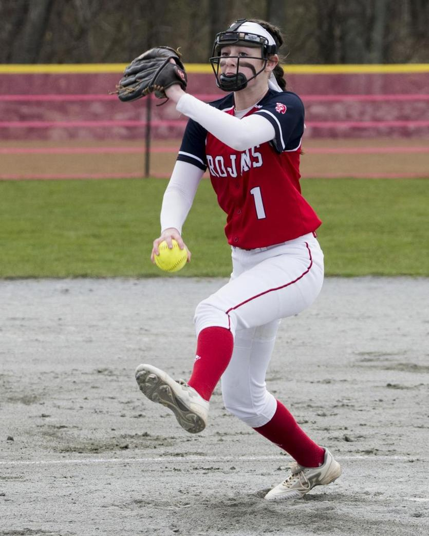 Bridgewater-Raynham pitcher Julia Ferry fires away against Marshfield.
