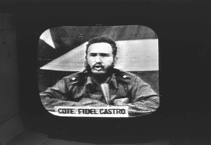 Cuban leader Fidel Castro responding to President Kennedy's naval blockade via Cuban radio and television on Oct. 23, 1962.