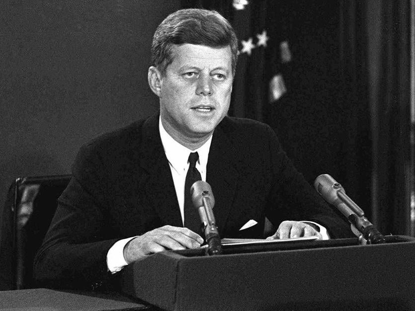 President John F. Kennedy makes a national television speech from Washington on Oct. 22, 1962, announcing a naval blockade of Cuba until Soviet missiles are removed.