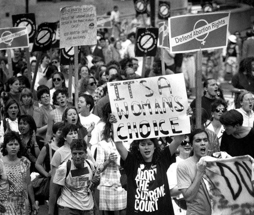 Boston, MA - 6/29/1992: Pro-choice demonstrators march down State Street to City Hall Plaza to protest the Supreme Court decision in Boston, June 29, 1992. (John Blanding/Globe Staff) --- BGPA Reference: 170224_EF_021