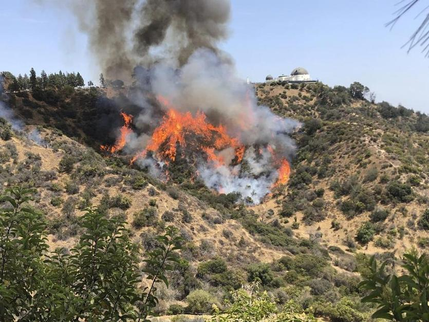 A wildfire burns on the hills surrounding the famous Griffith Observatory in Los Angeles Tuesday, July 10, 2018. Los Angeles Fire Department officials say the blaze has burned about two dozen acres of dry brush but its forward spread is stopped and crews have it nearly surrounded. Water-dropping helicopters are aiding firefighters on the ground. (Brooke Clements via AP)
