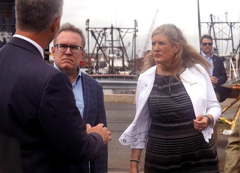 New Bedford, MA - 7/25/2018 - Alexandra Dapolito Dunn, Regional Administrator for EPA Region 1 pictured with U.S. EPA Acting Administrator Andrew Wheeler, at left, during an event celebrating one-year anniversary of Superfund Task Force in New Bedford. - (Barry Chin/Globe Staff), Section: Metro, Reporter: David Abel, Topic: 30epa, LOID: 8.4.2659617998.