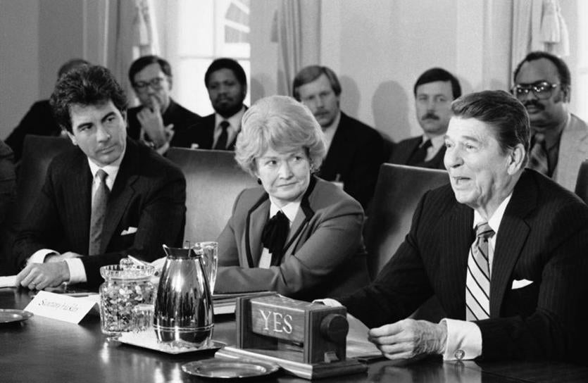 Ms. Heckler at a 1985 meeting with President Reagan.