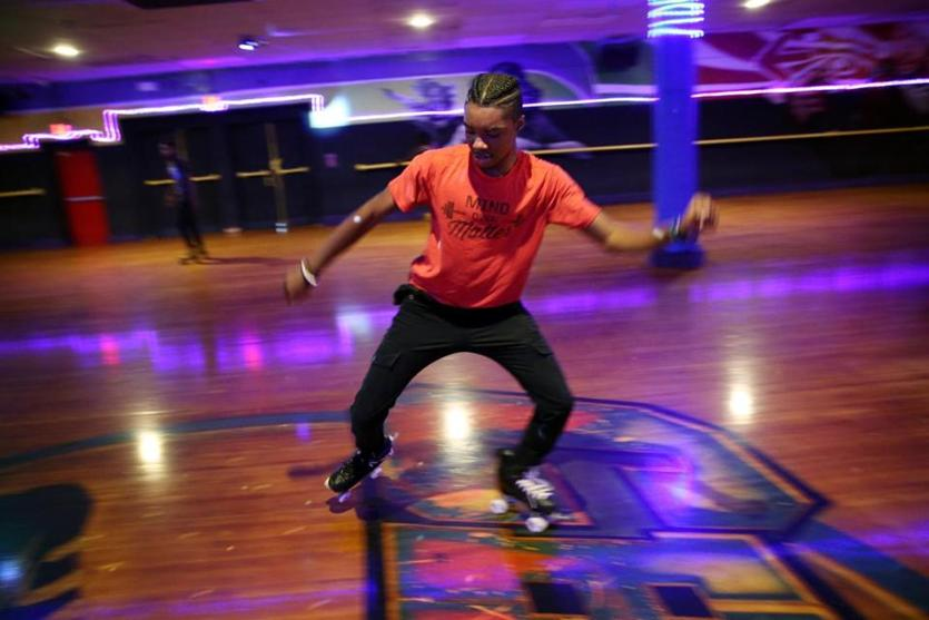 Boston, MA - August 09, 2018: Nick Johnson, 15, spent the afternoon skating at Chez-vous Roller Rink in the Dorchester neighborhood of Boston, MA on August 09, 2018. He said he visits the rink three times a week. The rink has been in operation for 85 years. (Craig F. Walker/Globe Staff) section: metro reporter: