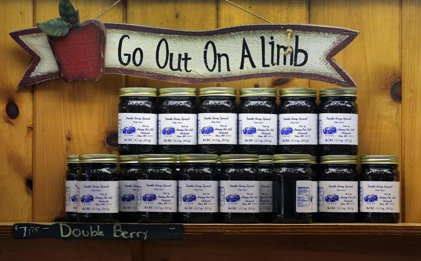 Stow, MA: 8-23-18: Berry spreads are displayed in the store at Honey Pot Hill Orchards. (Jim Davis/Globe Staff)