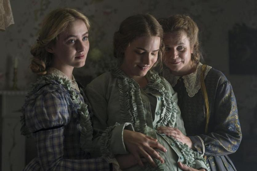 """Little Women"" on MASTERPIECE on PBS, Part Two, Sunday, May 20, 2018 at the special time of 8pm ET. Shown from left to right: Kathryn Newton as Amy, Willa Fitzgerald as Meg and Emily Watson as Marmee. For editorial use only. Courtesy of MASTERPIECE on PBS, BBC and Playground."