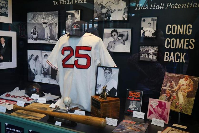 A display case in honor of Tony Conigliaro is under the center field stands at Fenway.