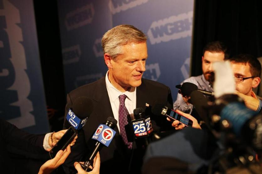 Boston, MA - 10/17/2018- ] Governor Charlie Baker speaks to the press after a debate against candidate Jay Gonzalez at WGBH on Wednesday, October 17, 2018. (Michael Swensen for The Boston Globe) Topic: (Metro)