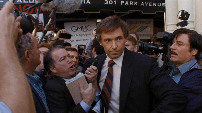"Hugh Jackman (center) stars as presidential candidate Gary Hart in ""The Front Runner."""