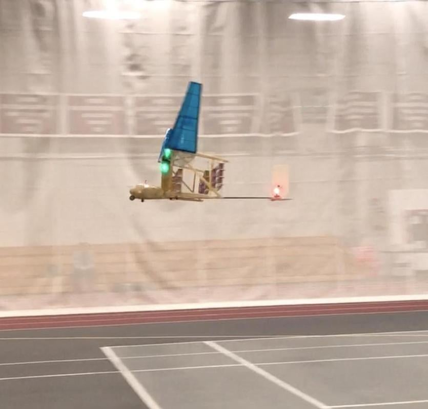 Another image of the glider in flight in the gym.