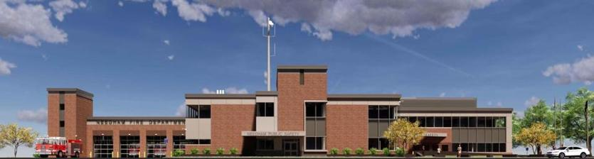 09zotaxrelief - A rendering of the planned new combined police and fire headquarters in Needham Center. (Town of Needham)