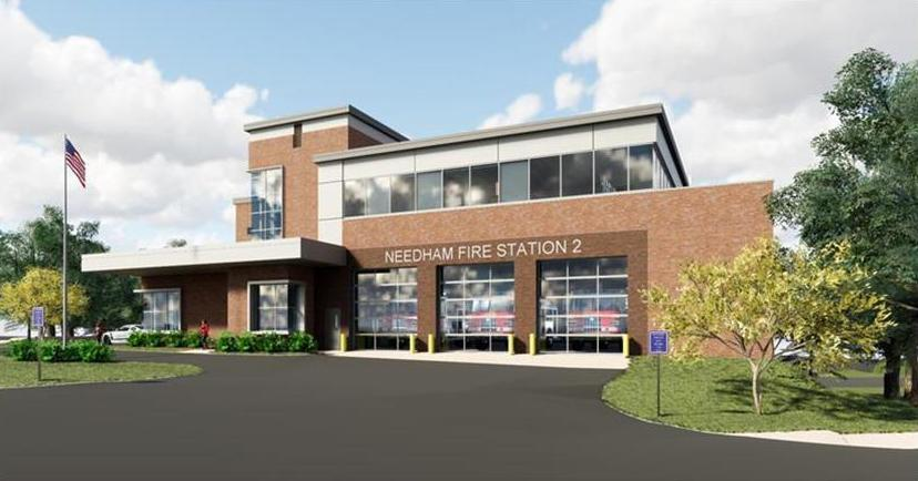 09zotaxrelief - A rendering of the planned new fire station in Needham Heights. (Town of Needham)
