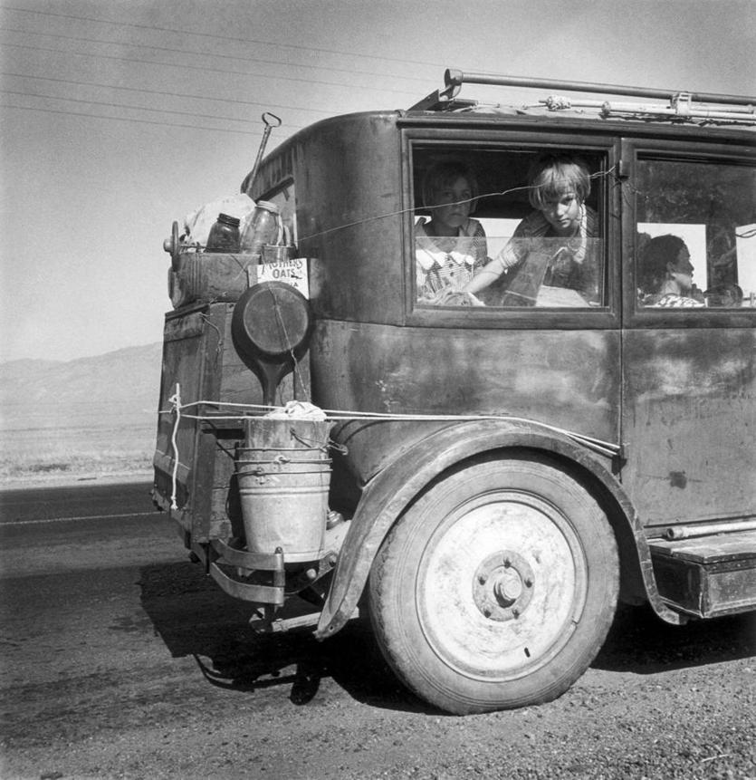 """Drought refugees from Abilene, Texas, following the crops of California as migratory workers. . . .,"" August 1936, by Dorothea Lange"