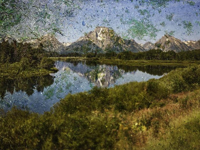"""Tent-Camera Image on Ground: View of Mount Moran and the Snake River from Oxbow Bend, Grand Teton National Park, Wyoming"" by Abelardo Morell"