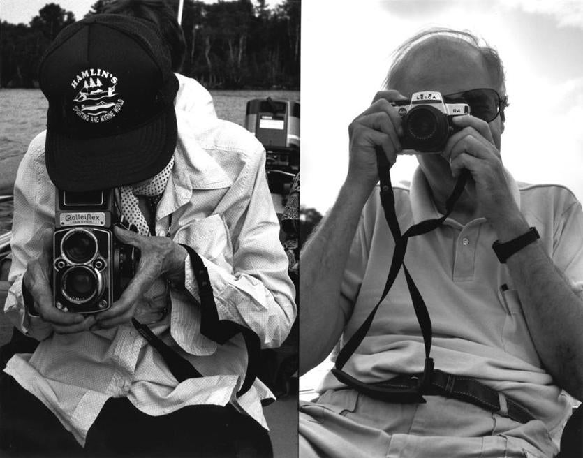 Photos of Berenice Abbott (left) and Hank O'Neal, taken by each other in Maine in 1990.
