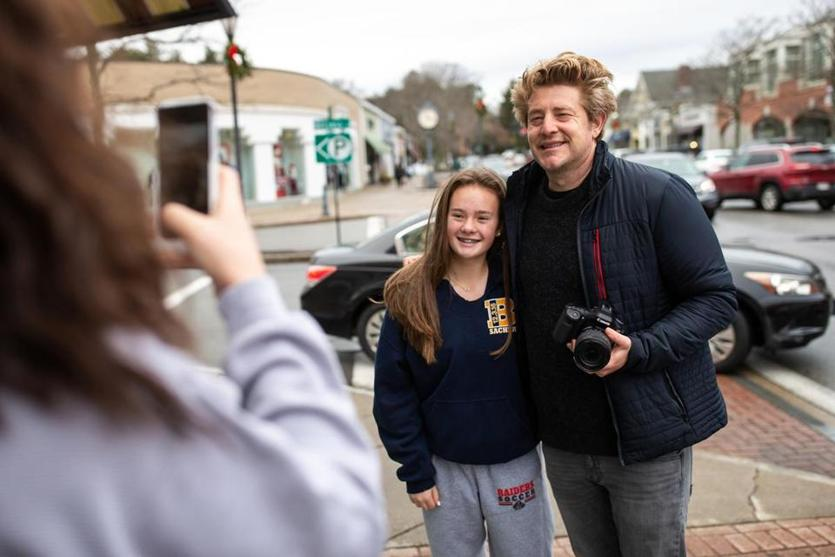 Fan Lucy Mitchell, 15, greeted Jason Nash as he was vlogging his day in Wellesley recently.