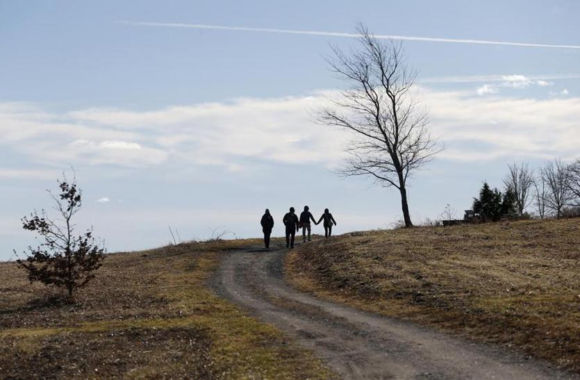 Boston, MA, 01/1/2019 -- People walked along a trail on Thompson Island. For 35 years the Friends of the Boston Harbor Islands have been running a New Year's Day excursion to Thompson Island. (Jessica Rinaldi/Globe Staff) Topic: 02islandtrip Reporter: